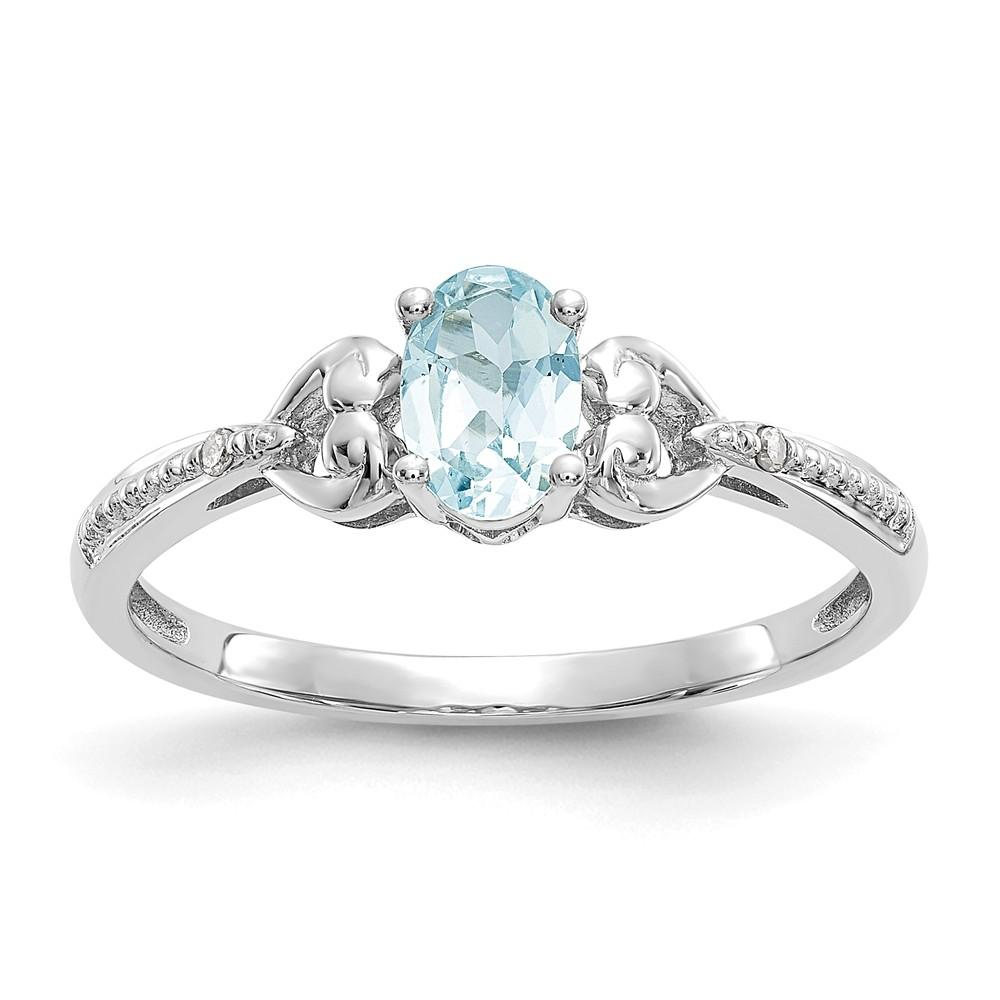 10k White Gold Aquamarine And Diamond Solitaire Engagement Ring 0 4 Ct Diamond2deal Diamond Rings Bands Diamond Solitaire Engagement Ring Diamond Bands
