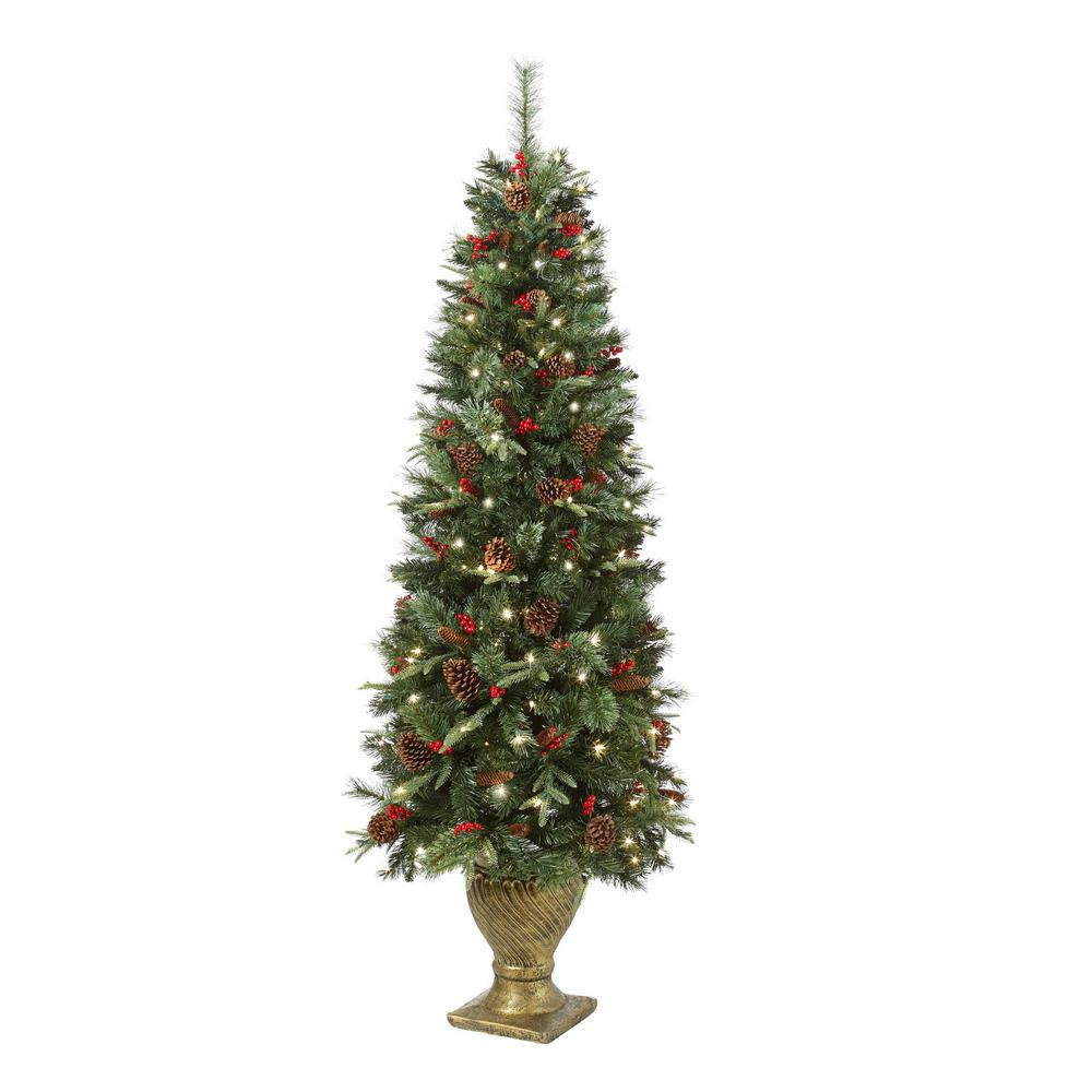 Home Accents Holiday 6 5 Ft Pre Lit Potted Artificial Christmas Tree Ty78 797 200lr The Home Artificial Christmas Tree Pre Lit Christmas Tree Christmas Tree