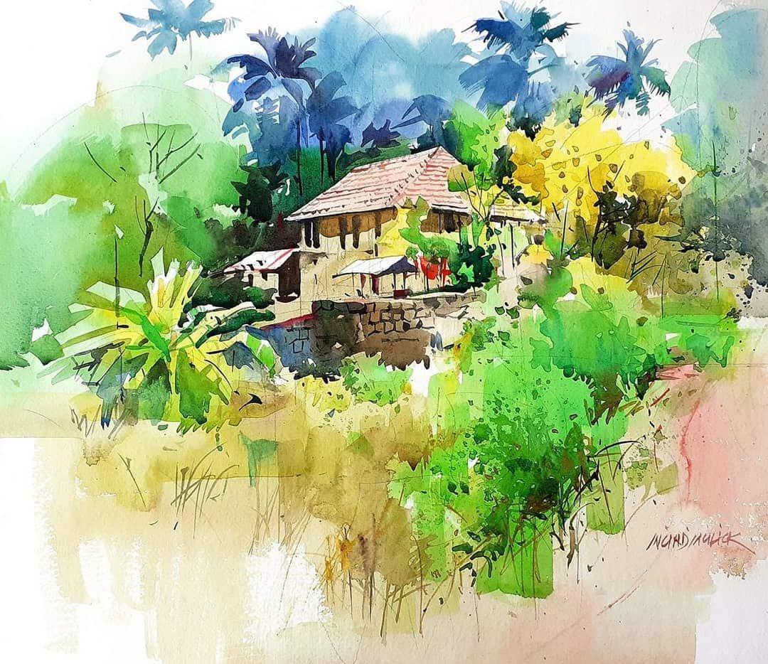Milind Mulick On Instagram Lost N Found Watercolour Watercolor Painting Kera In 2020 Watercolor Landscape Paintings Watercolor Scenery Landscape Art Prints