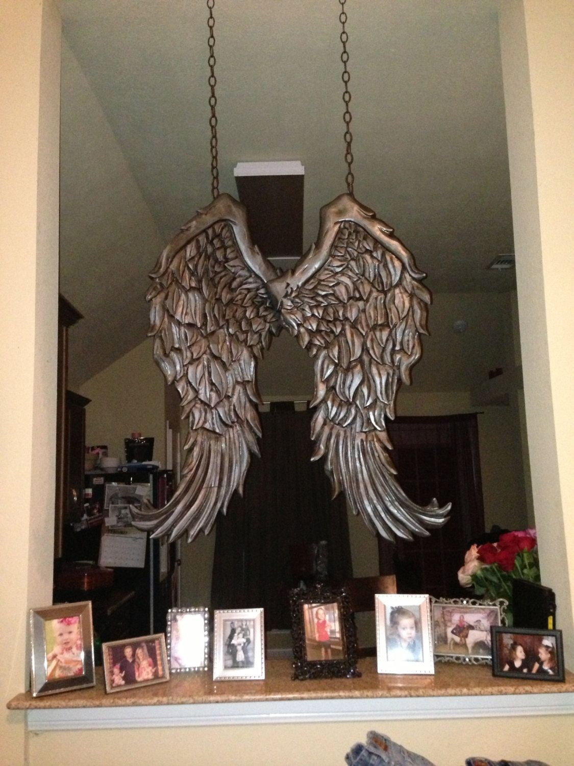 Wooden Angel Wings Wall Decor large rustic angel wings distressed wood wall decor. $450.00, via