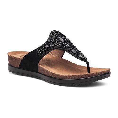 abdfb27edffa41 Dansko 1555830200 Women S Black Jewelled Pamela Thong Sandals ...