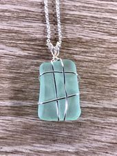 Photo of Aquamarine SeaGlass Necklace, CocaCola Beach Glass Jewelry, Aqua Sea Glass Wrap …