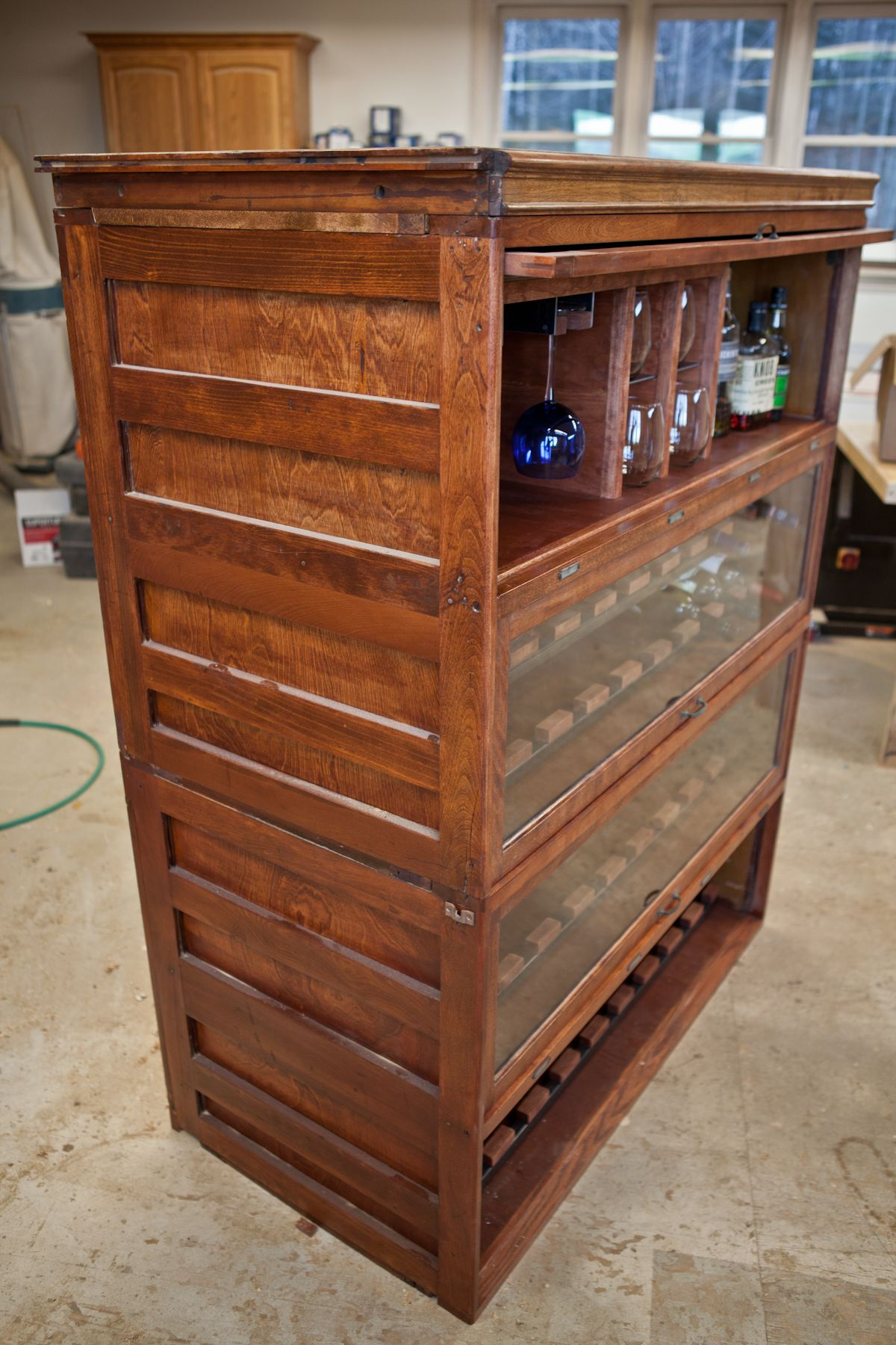 repurposed lawyers bookcase wine and liquor cabinet by arbor u0026 iron custom furniture stowe