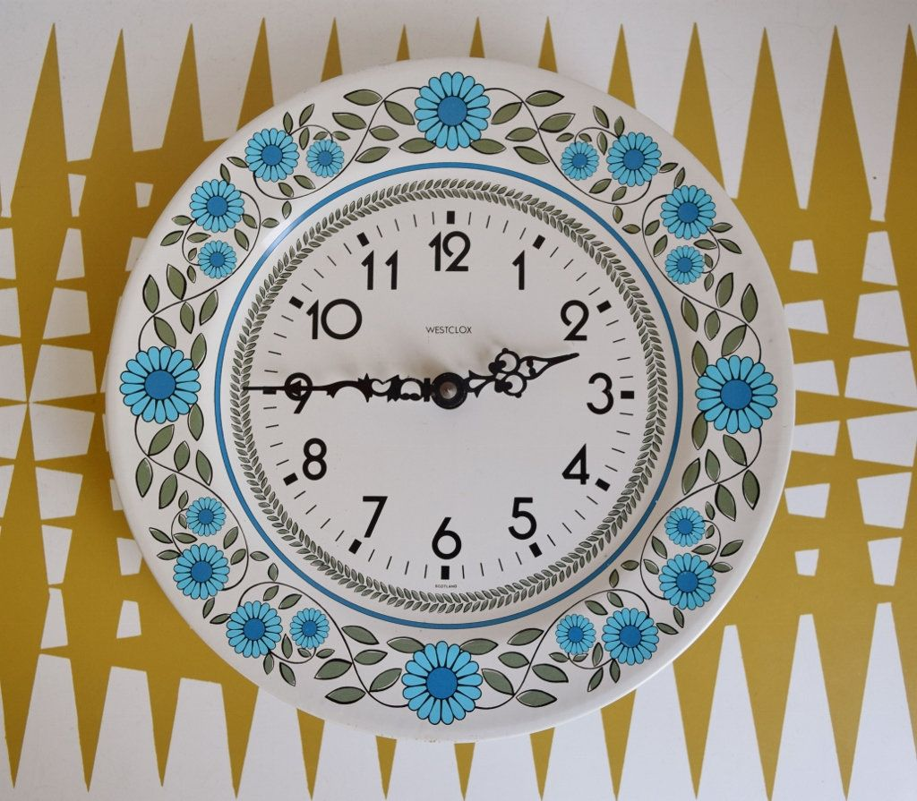 vintage battery operated wall clock with blue flowers on wall clocks battery operated id=84161