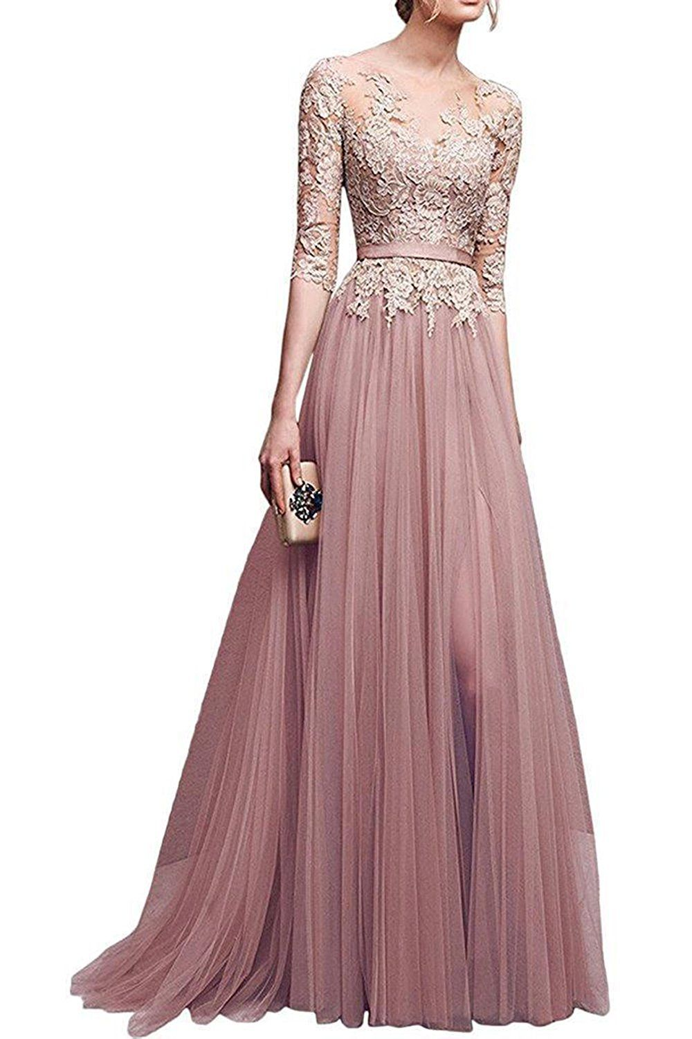 Amazon.com: MisShow Applique Tulle 3/4 Sleeves Long Prom Dresses ...