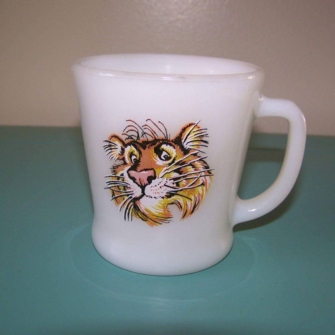 8ebb7b9f80a Esso the Tiger Mug Mid Century Vintage Exxon Anchor Hocking Fire King Milk Glass  Mug Put a Tiger in Your Tank (6.25 USD) by AKitschIsJustAKitsch