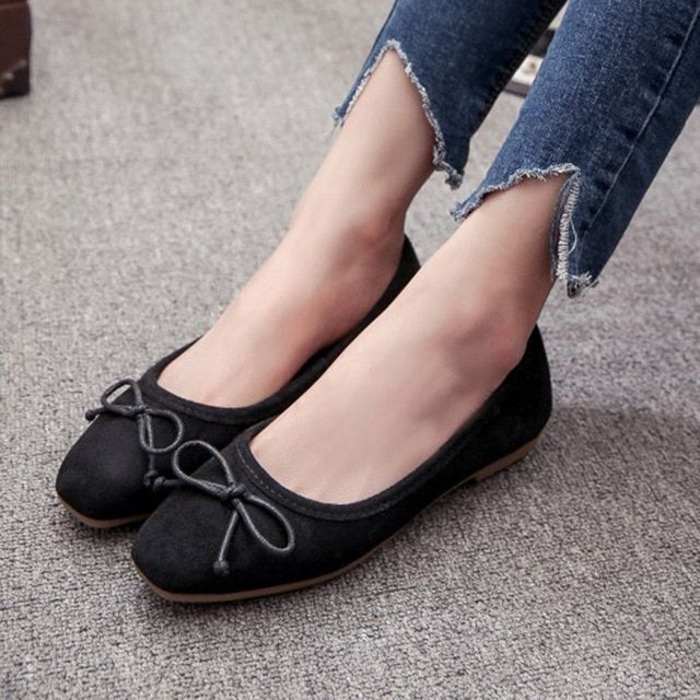 Women ballet flats bow square toe slip on shoes woman flats faux suede boat shoes loafers lad