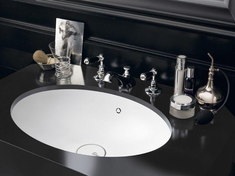 design handwaschbecken badezimmer barock schwarz weiss oval luxus