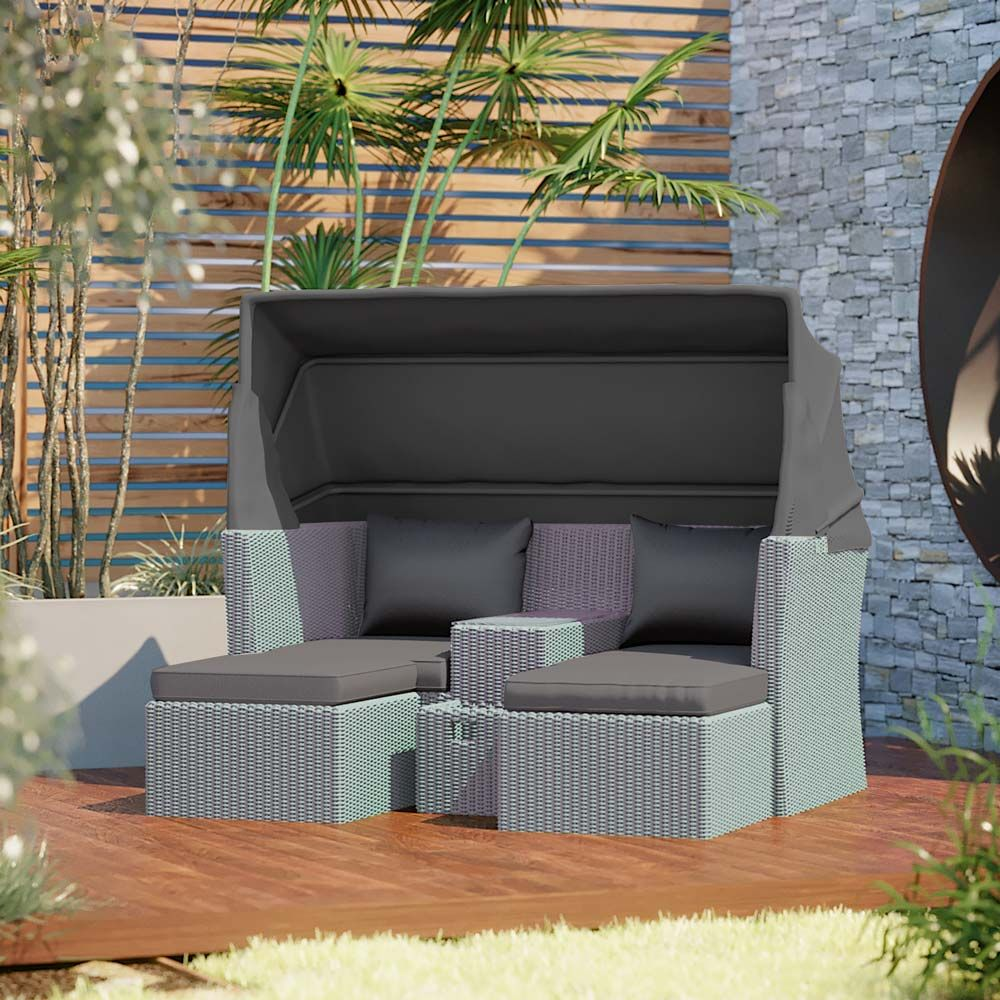 Buy Marquis PE Wicker Modular Outdoor Sofa Set W/ Canopy   Grey Online  Australia