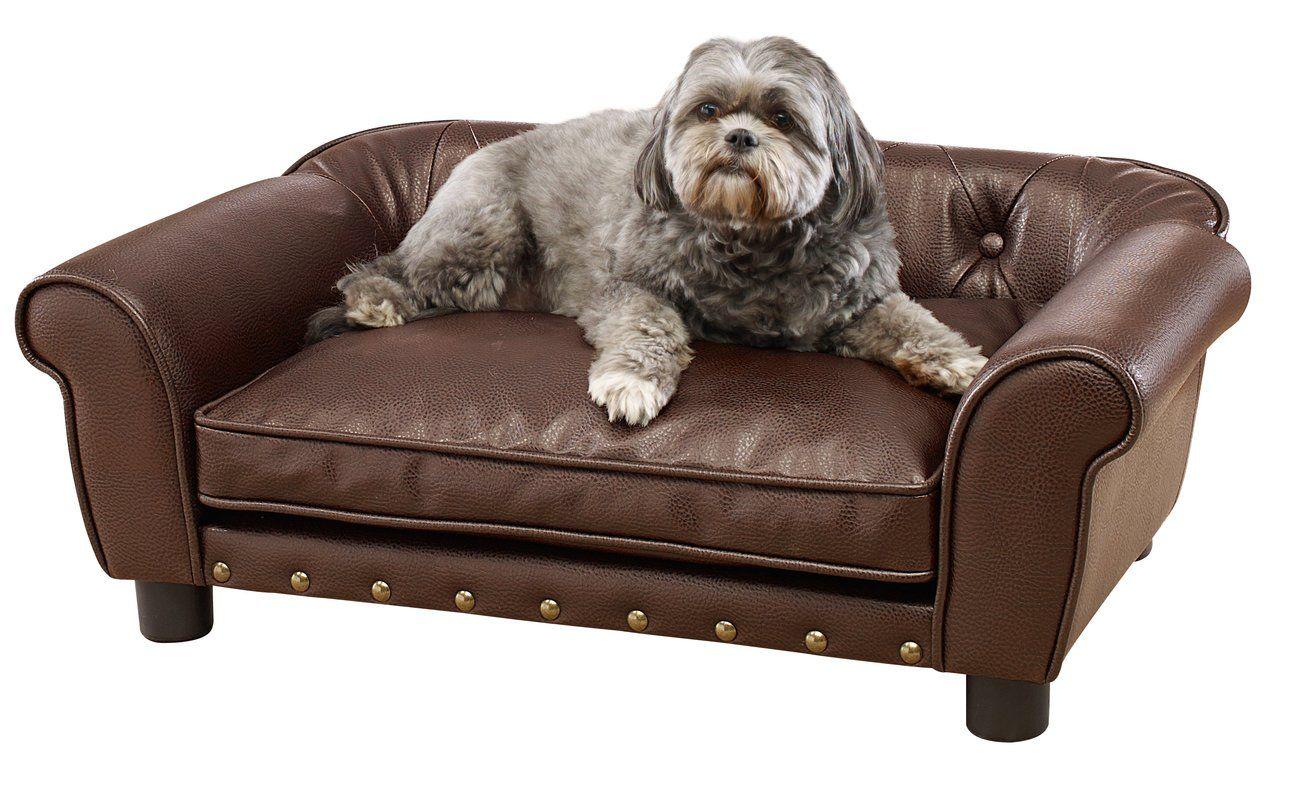 Longworth Dog Sofa Tufted Dog Bed Pet Sofa Leather Dog Bed