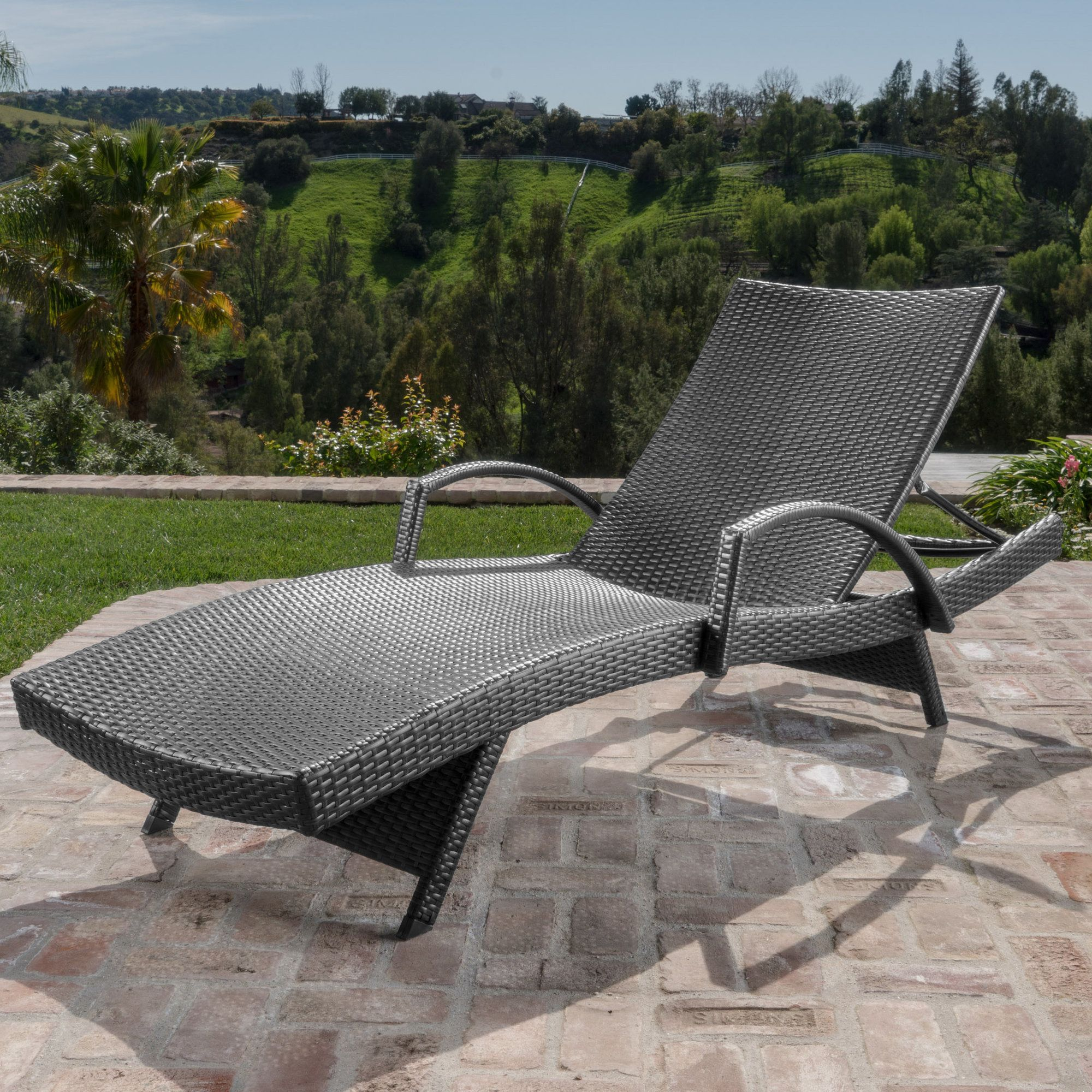 Berne outdoor wicker armed chaise lounge patio rocking
