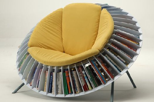 reclining chair has a built in bookcase nature inspired unique