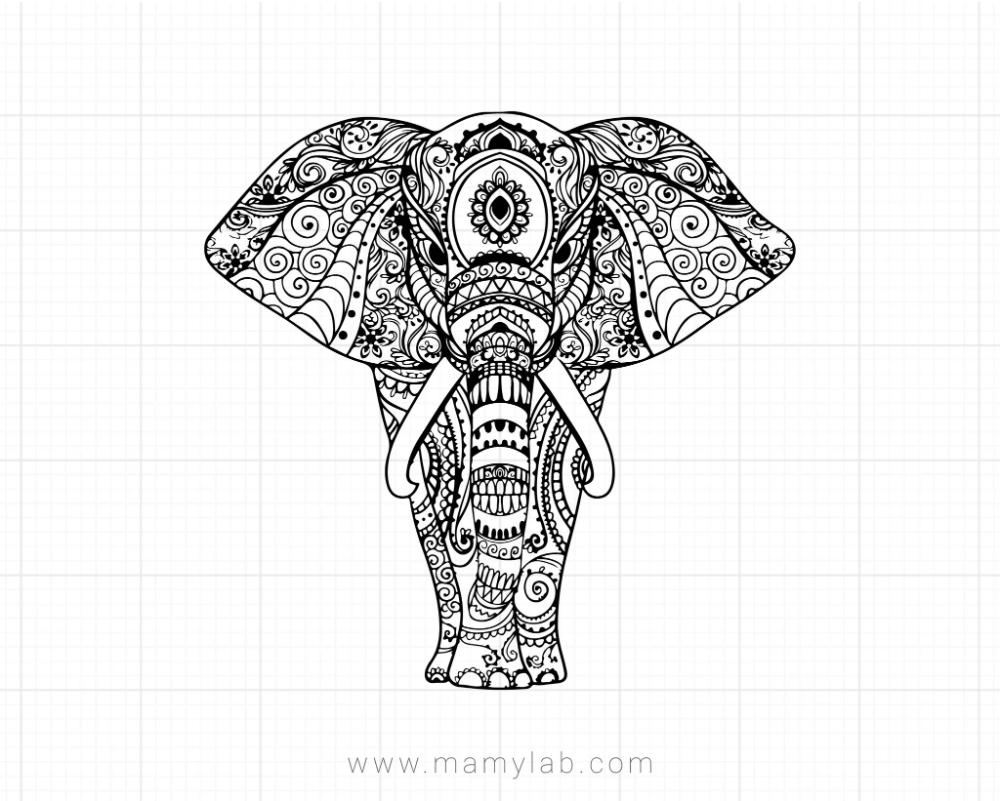 Mandala Elephant Svg Zentangle Svg Mandala Svg
