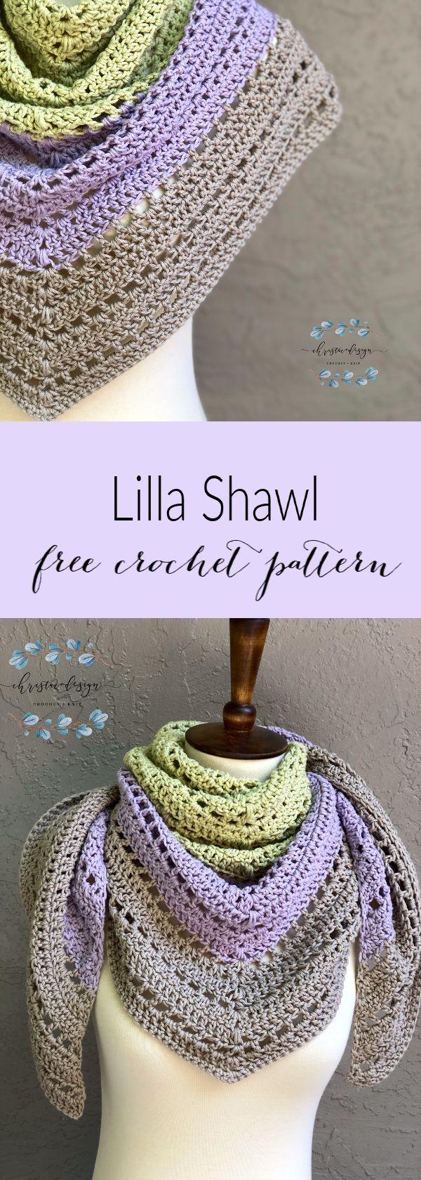 Lilla Shawl a Free Crochet Triangle Shawl Pattern - ChristaCoDesign