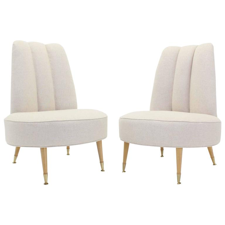 Newly Upholstered Mid Century Modern Slipper Chairs