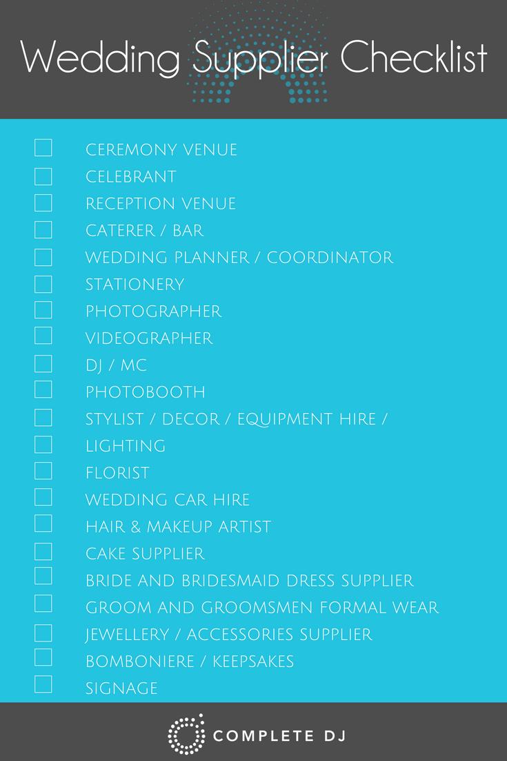 Wedding supplier checklist, wedding vendor checklist, help