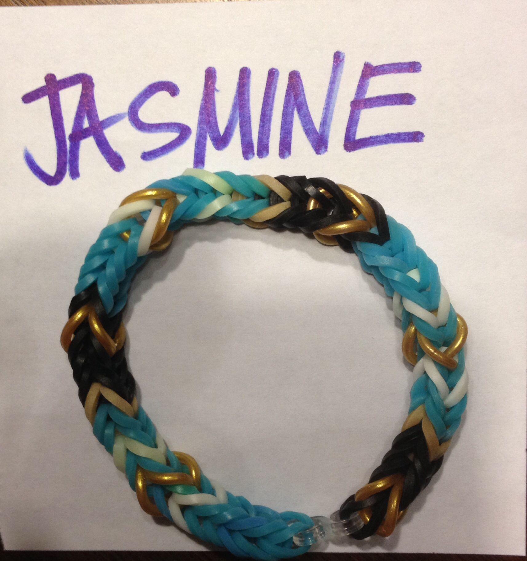 Disney Girls Rubber Band Bracelet: Jasmine Inspired Colors