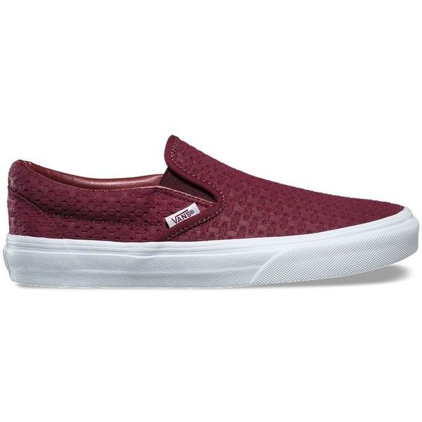 burgundy checkerboard slip on vans
