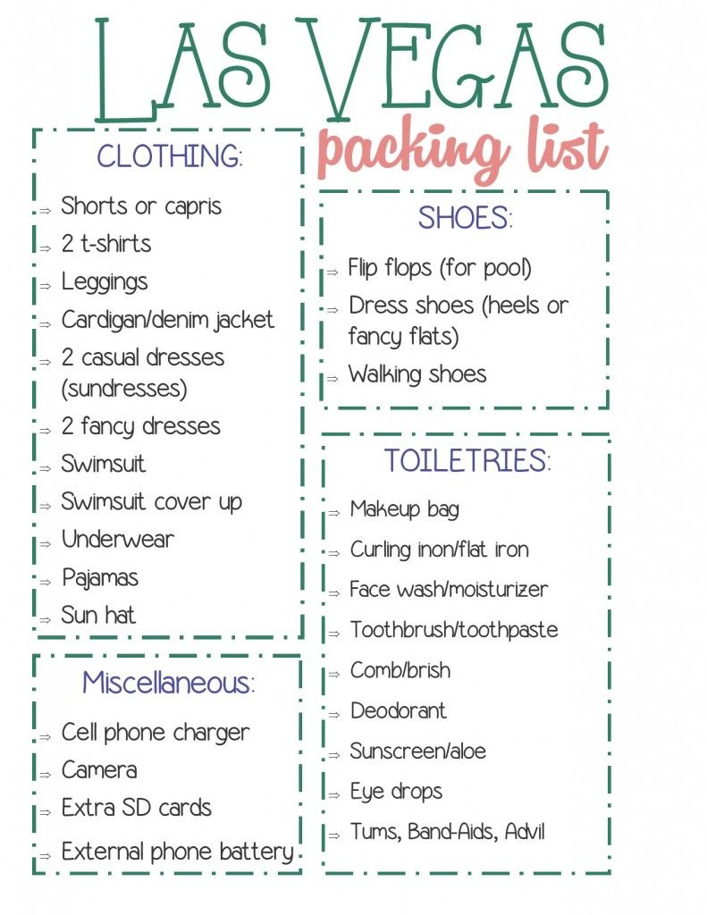 How To Pack For Las Vegas A Free Printable Checklist