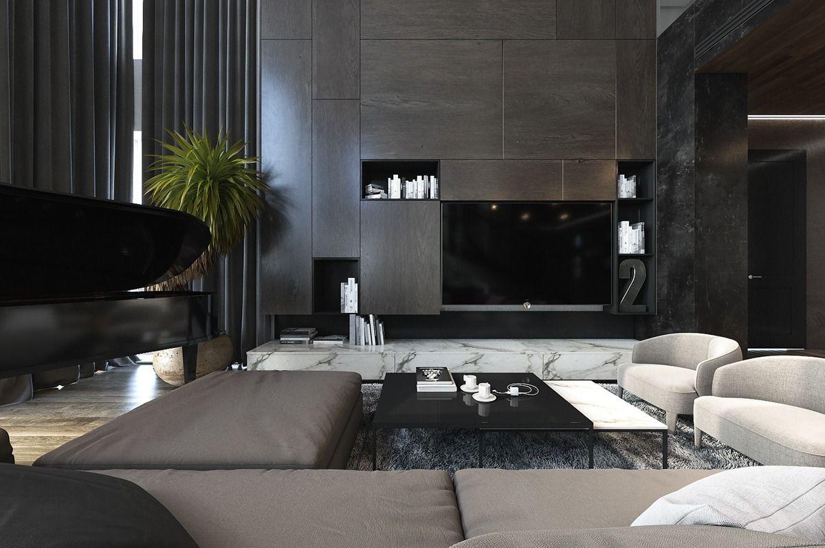 Three Luxurious Apartments With Dark Modern Interiors ...