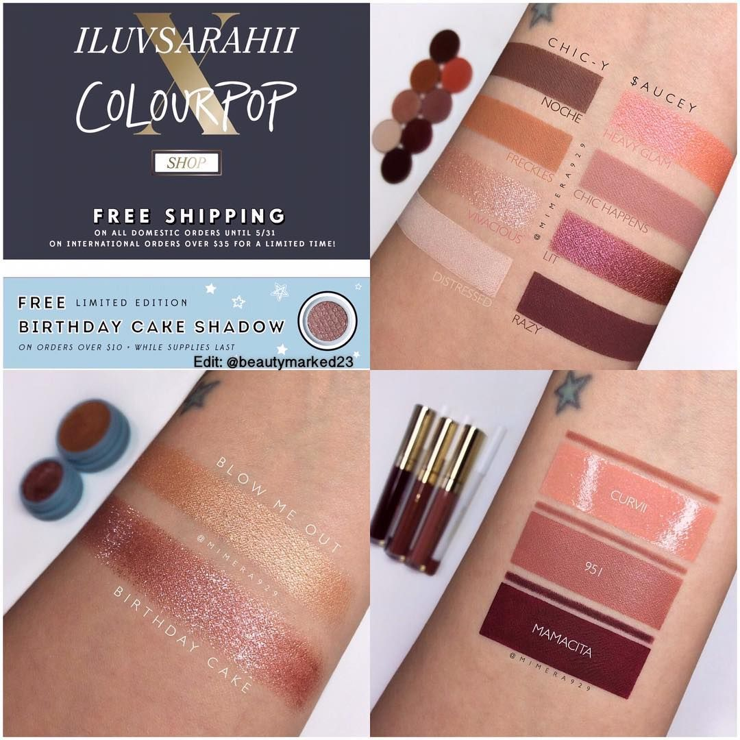 colourpop x #iluvsarahii #swatch | Make-up | Swatch, Makeup Swatches ...