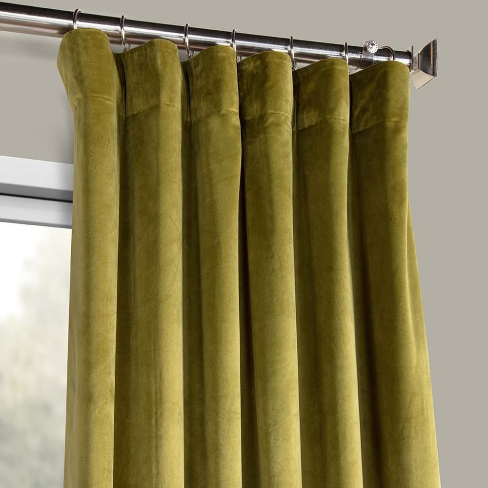 Exclusive Fabrics Furnishings Retro Green Plush Velvet Curtain 50 In W X 96 In L Vpyc 161224 96 The Home Depot Velvet Curtains Panel Curtains Curtains