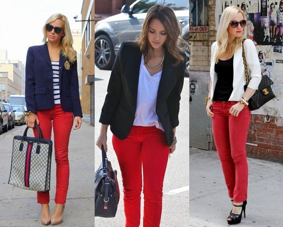 Mujer Con Estilo Red Pants Outfit Outfits Con Jeans Red Jeans Outfit