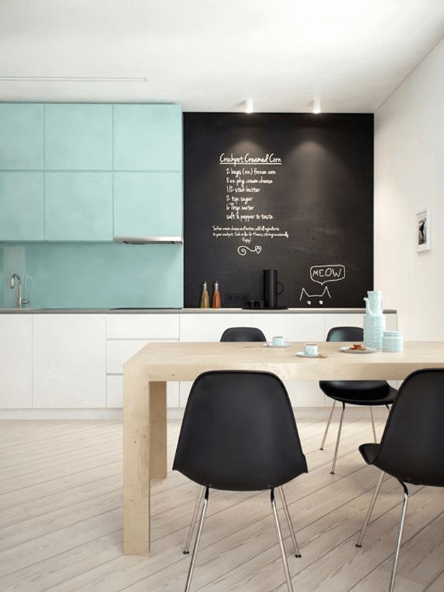 Modern Kitchen With Teal And Black Accents Bluegreen Greenblue - Chalkboard accents dining rooms