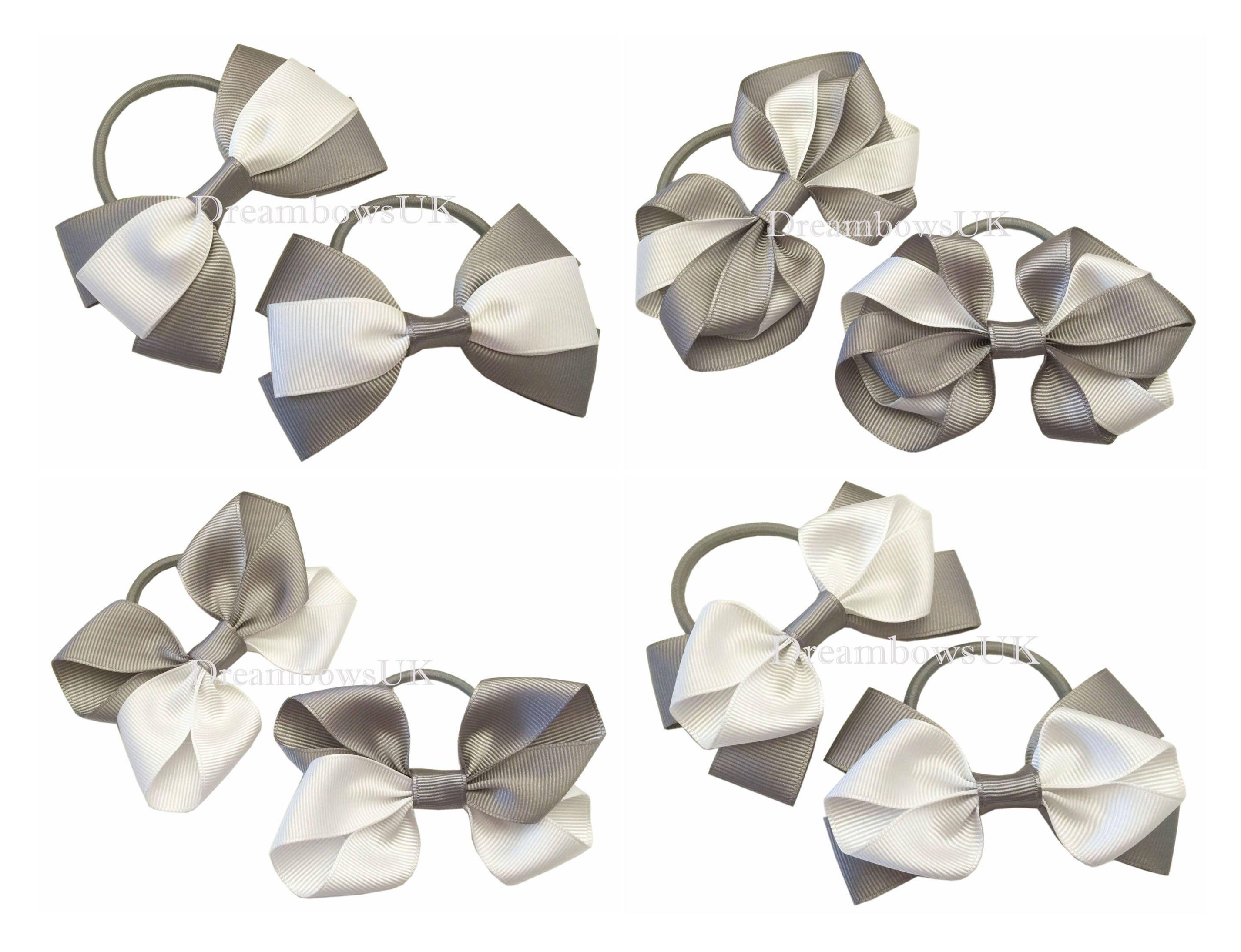 Grey and white girls school hair bows 8dd9628f983