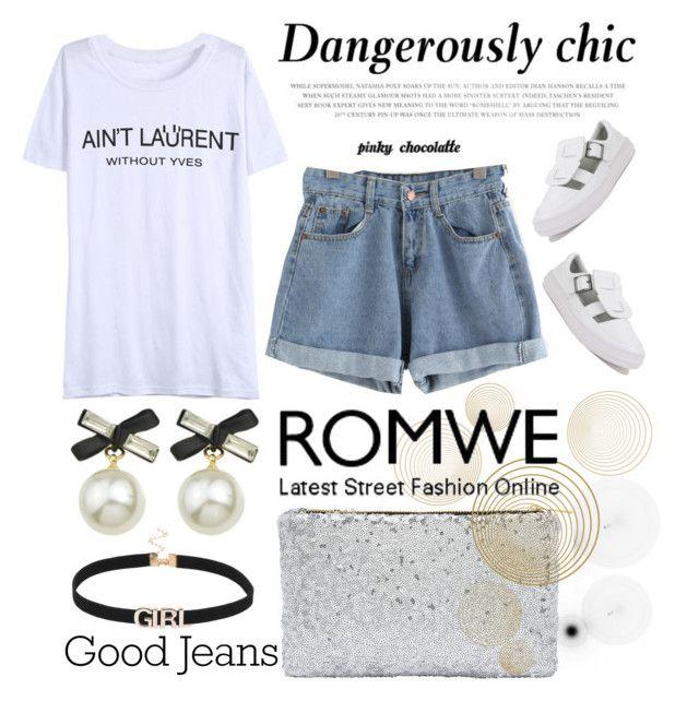 """ROMWE - Blue Cuffed Denim Shorts: 15/08/16 (WGC)"" by pinky-chocolatte ❤ liked on Polyvore featuring MyStyle, polyvorecommunity, beoriginal, polyvorefashion and PolyvoreMostStylish"