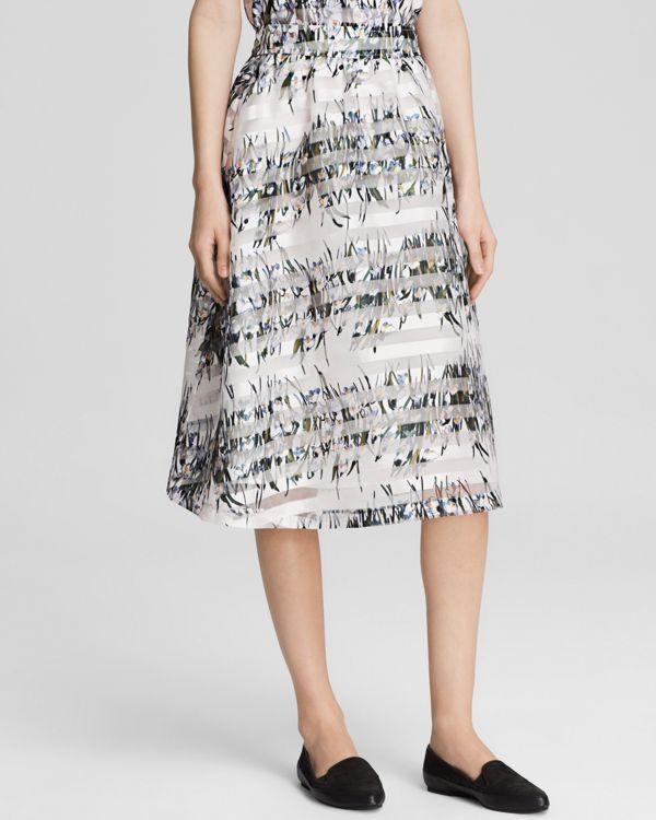 J.o.a. Midi Skirt - Floral Stripe