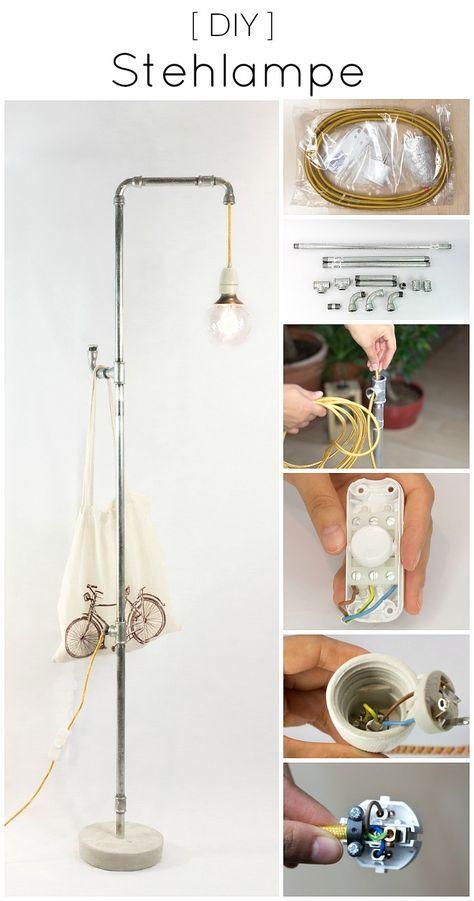 stehlampe selber machen aus rohren im industrial style diy anleitung zuk nftige projekte. Black Bedroom Furniture Sets. Home Design Ideas
