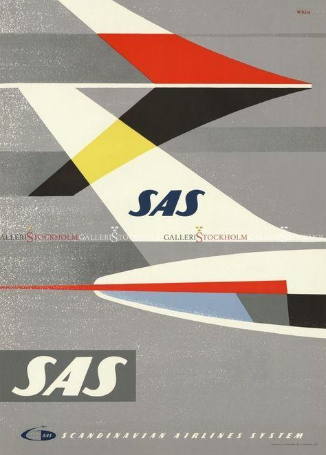 Staffan Wiren Affischer Retro Sas Bakvinge Affisch Vintage Affischer Planscher