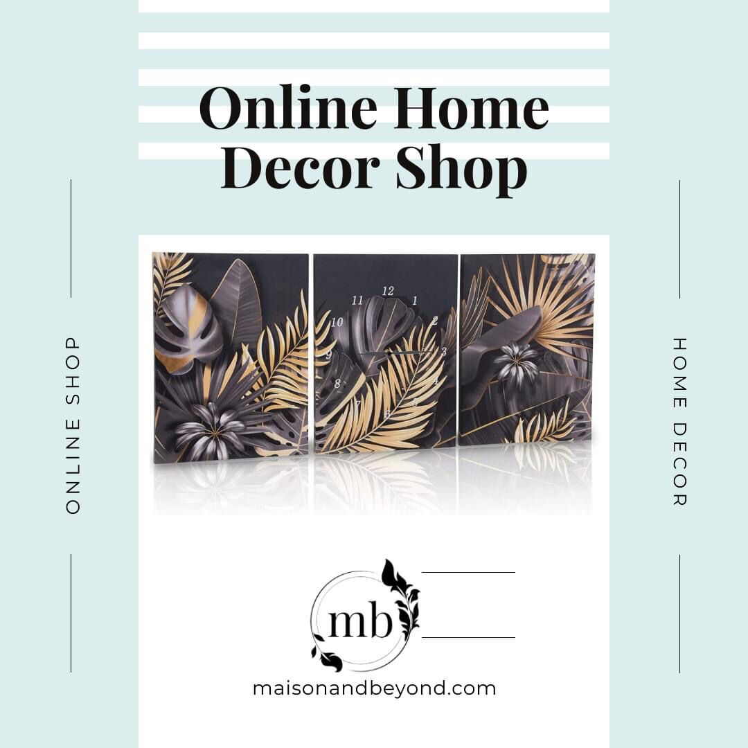 ✅Invite stunning, unique style into your home with this canvas wall art set from Maison & Beyond! This set of three wall canvases make the perfect focal point in every room and features a modern pattern of leaves in various shades of black, grey and gold. Plus, the center panel includes a sleek clock for functional art! Great office wall decor, bathroom wall art or house decorations for living room. #decordesign #lovedecor #homeinteriordesign #inspirationdeco
