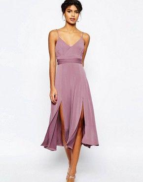 ASOS Cami Tie Waist Double Split Midi Dress | Midikleider ...