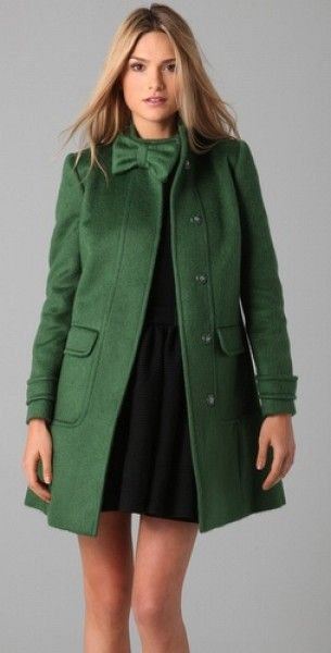 Green coat with bow