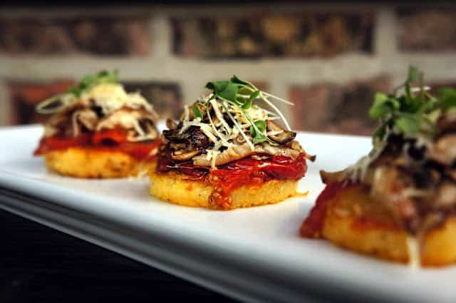 Crispy Polenta Rounds with Wild Mushroom and Oven Roasted Tomatoes - The Windy City Dinner Fairy