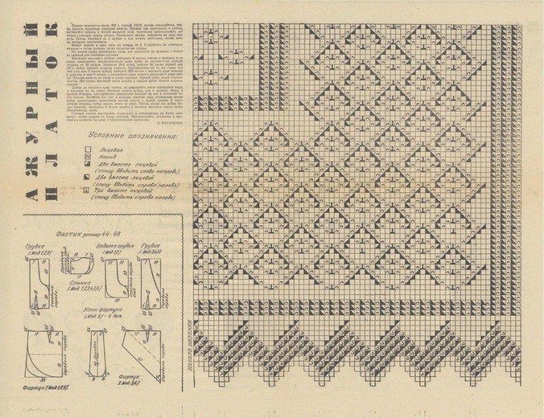 как связать оренбургский платок спицами схемы