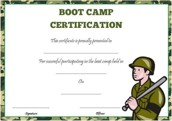 Boot Camp Certificate Template Boot Camp Certificate Template