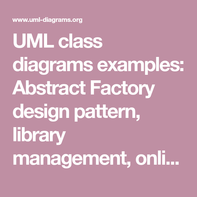 UML class diagrams examples: Abstract Factory design ...