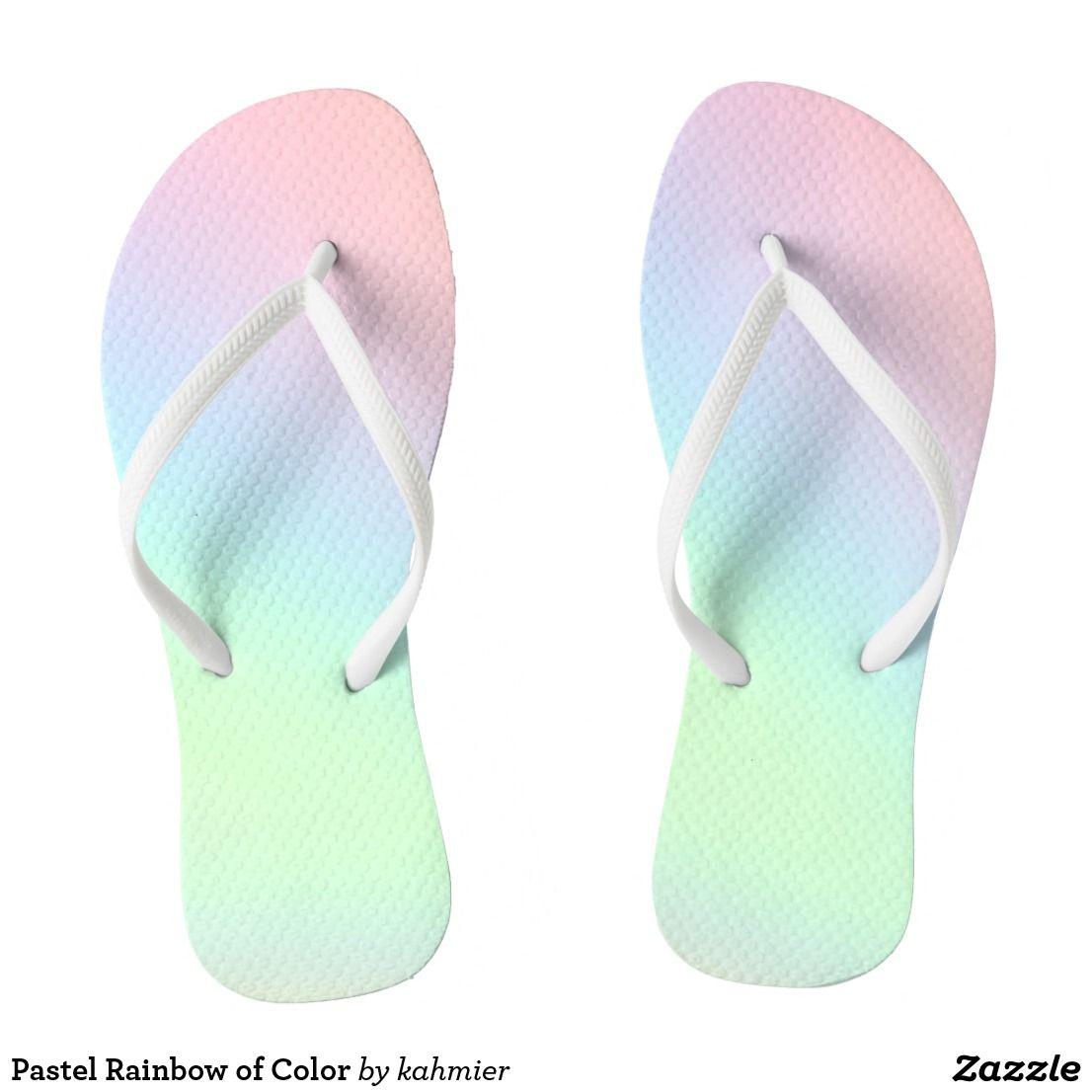 Pastel Rainbow of Color Flip Flops