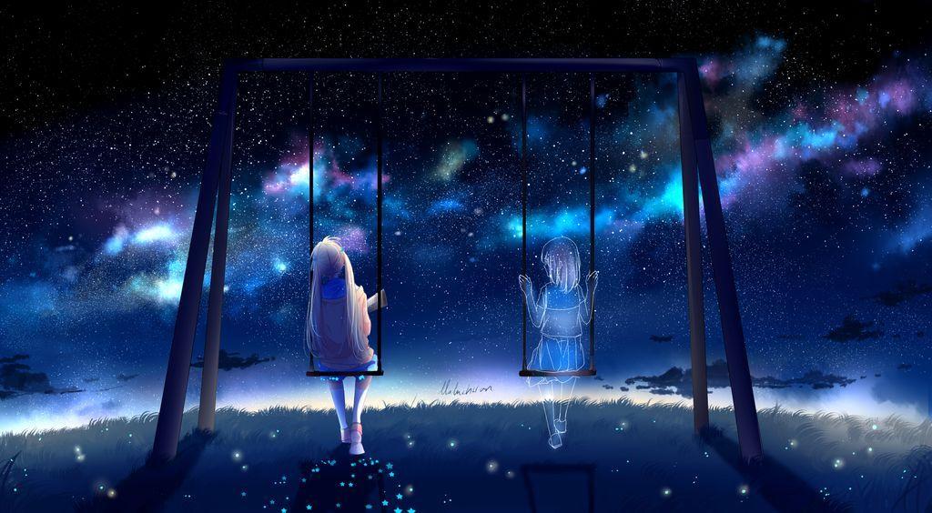 Ghost At Night Gadis Animasi Pemandangan Anime Gambar