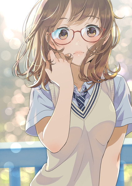 Anime picture 753x1063 with original morikura en single tall image blush short hair looking at viewer brown hair brown eyes wind striped adjusting hair