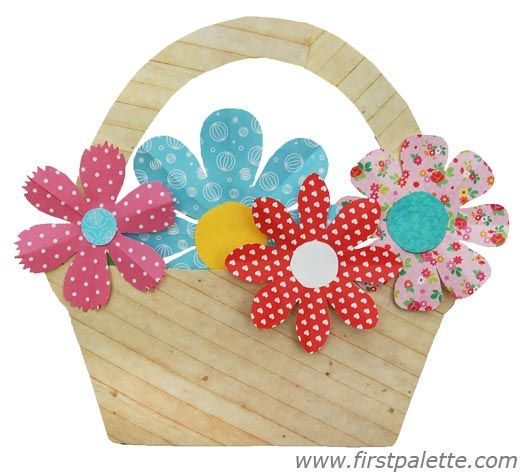 How To Make Flower Basket With Chart Paper : Basket of flowers craft kids crafts firstpalette