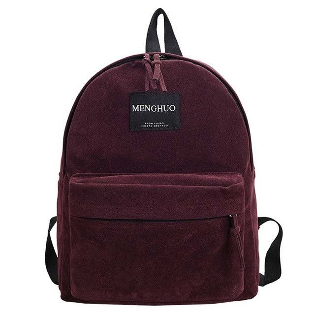 5153903573 MengHuo new Women Backpack youth korean style shoulder bag Solid Vintage  School Bag Backpacks for Teenage Girls Suede Backpack