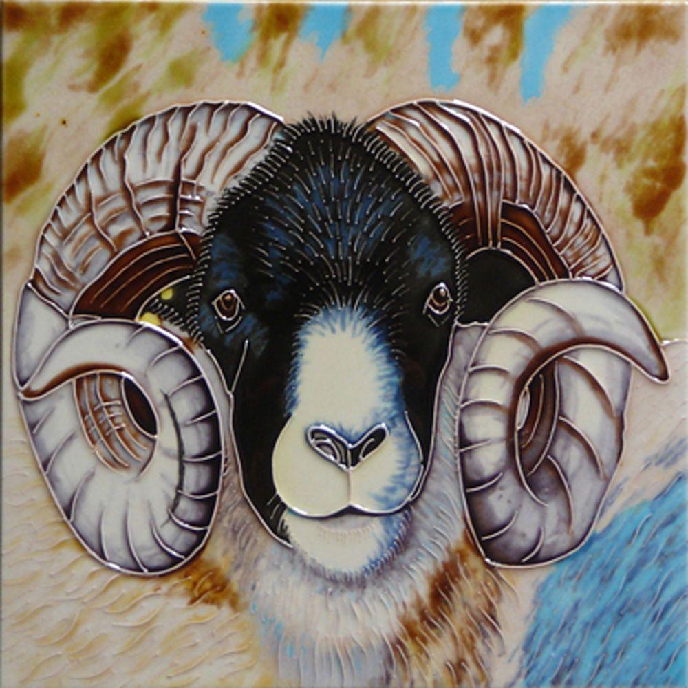 Tile Plaques Home Decor Ram Sheep Head Ceramic Kitchen Picture Tile Wall Plaque Decorative