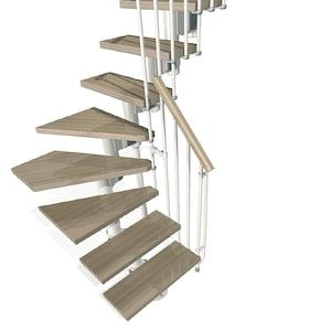 Best Arke Kompact 9 9 Ft White Modular Staircase Kit At Lowes 400 x 300