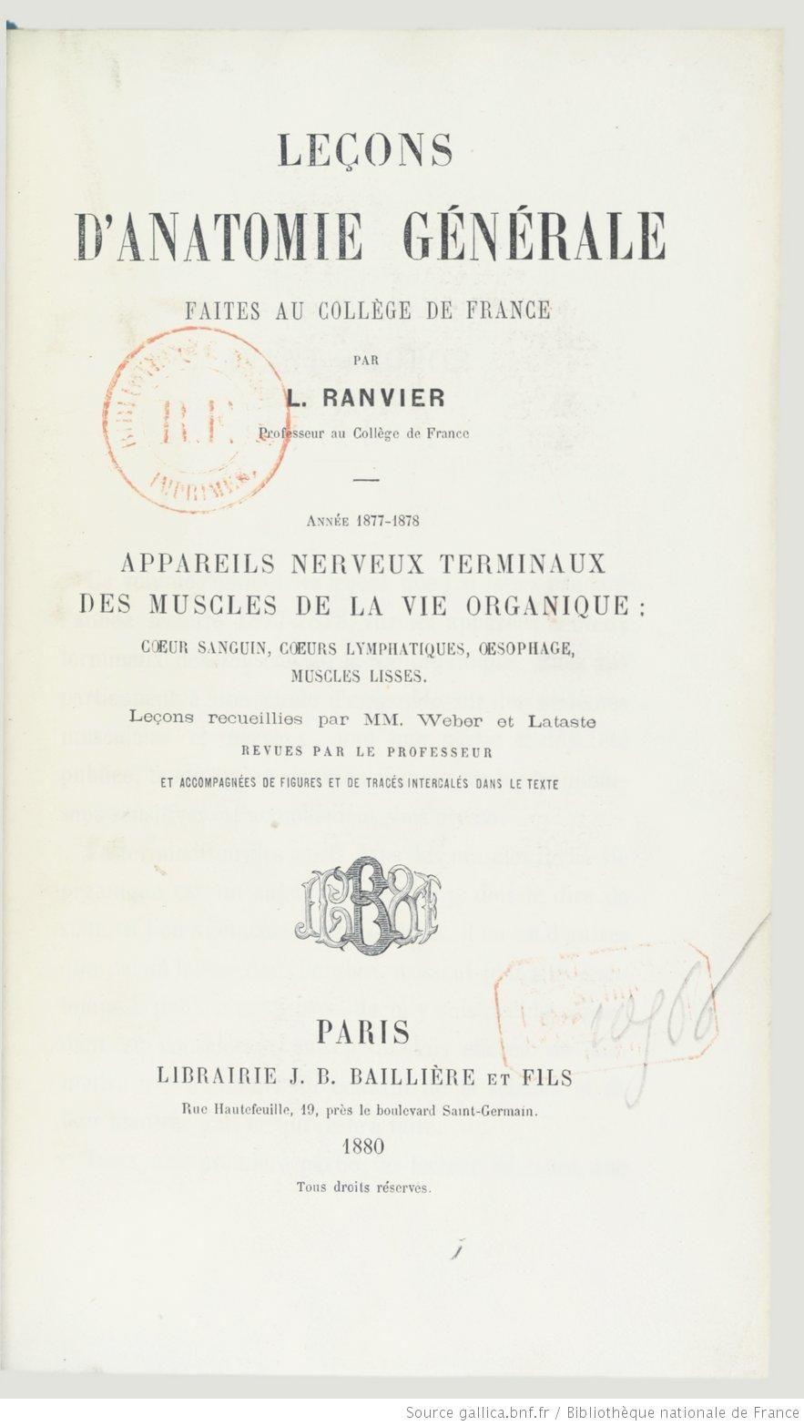 Leçons d\'anatomie générale faites au Collège de France. 1 / par L ...