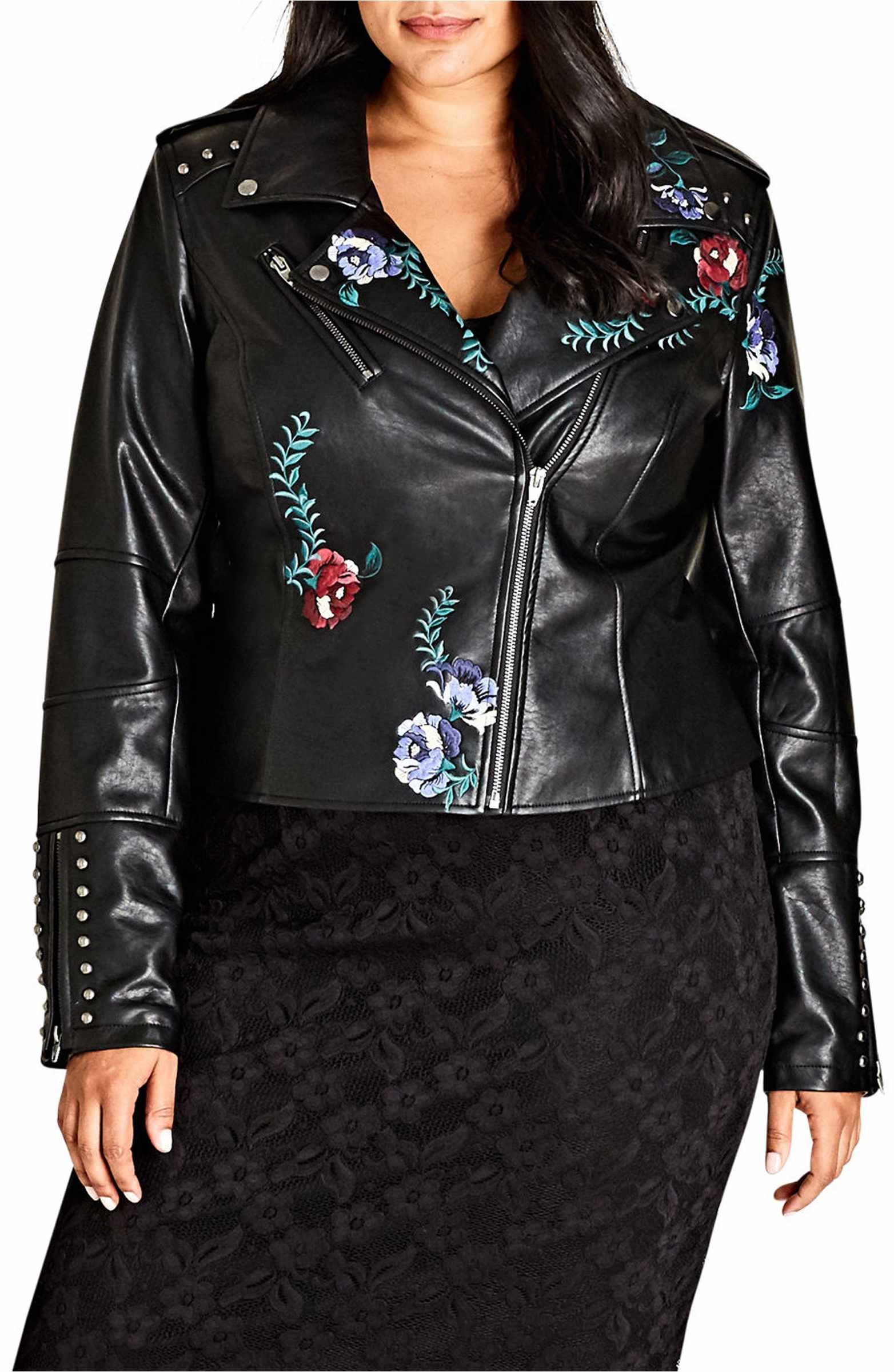 City Chic Embroidered Rose Faux Leather Biker Jacket Plus Size Nordstrom Faux Leather Biker Jacket Leather Jacket Style Best Leather Jackets [ 2400 x 1564 Pixel ]