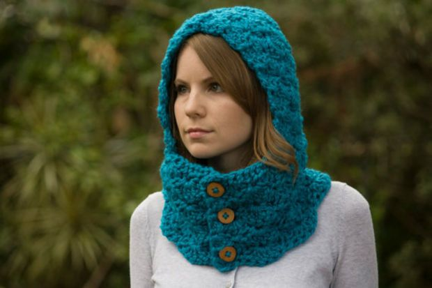 Cowl With Hood Teal Scoodie Blue Neckwarmer With Buttons Crochet